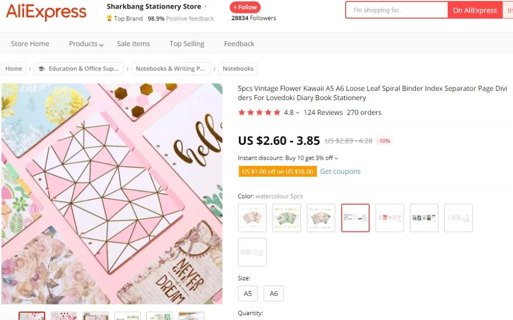 Artistic notebook & journal dropshipping product example