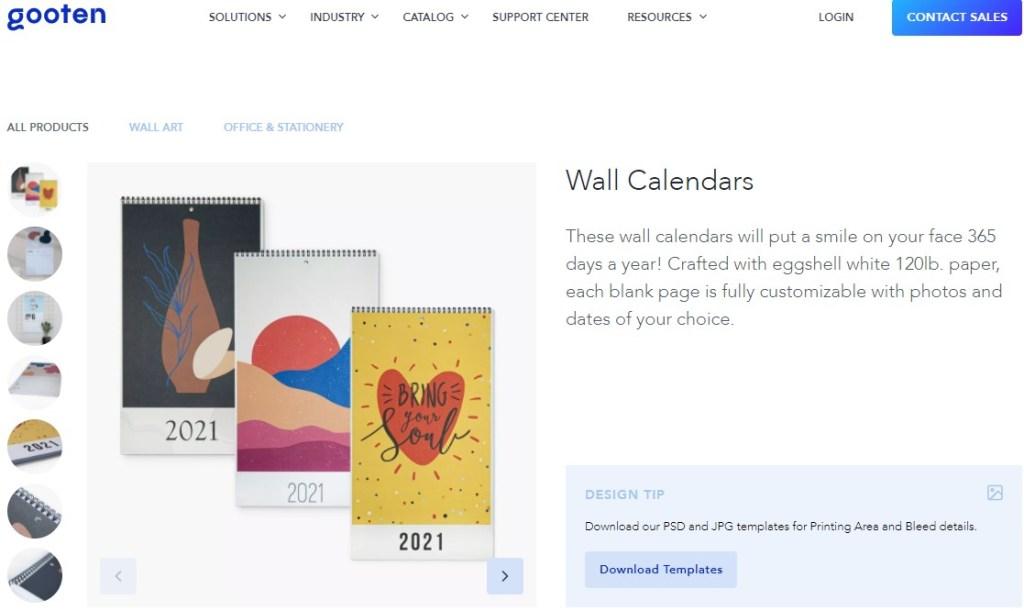 Calendar dropshipping products on Gooten