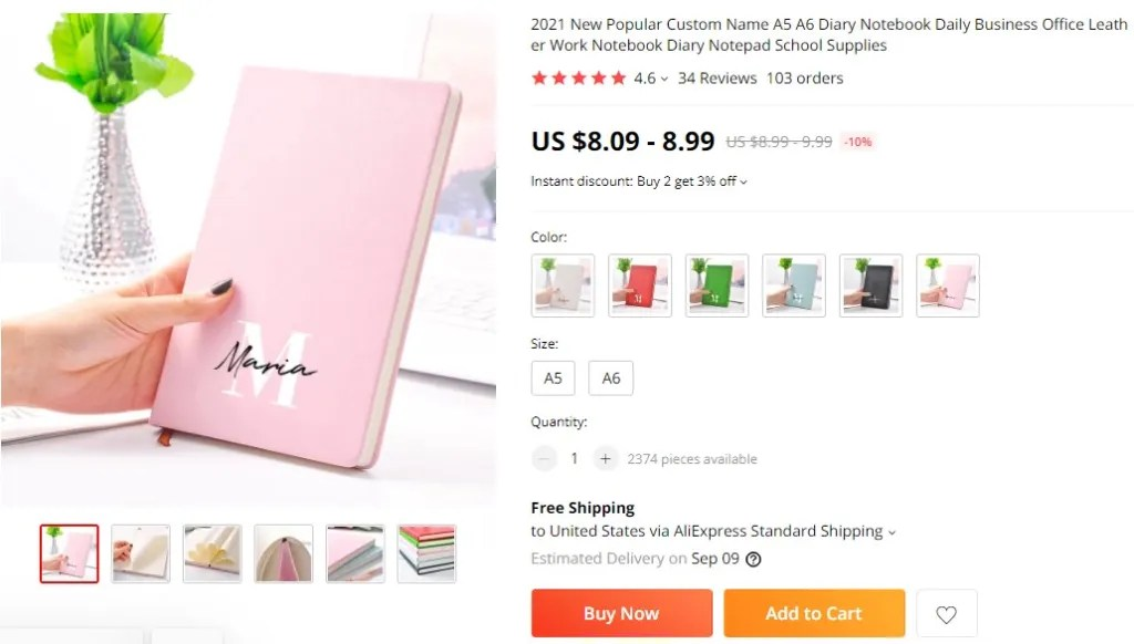 Custom notebooks & planners dropshipping product example