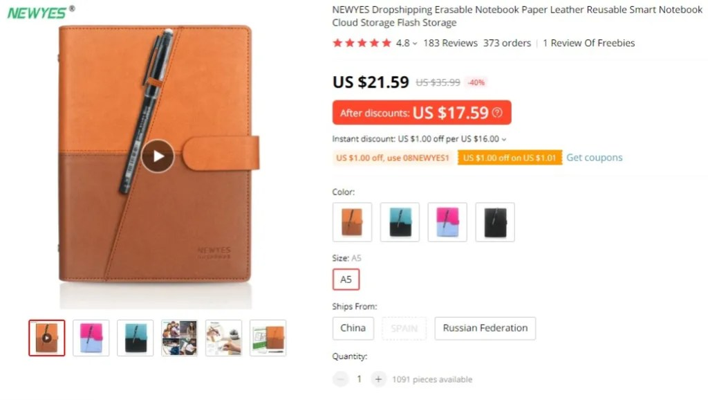 Erasable notebooks dropshipping product example