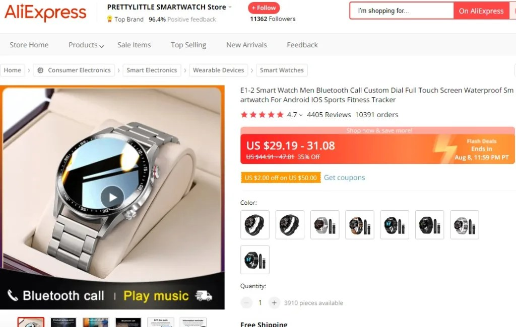 Fashion smartwatch dropshipping product example