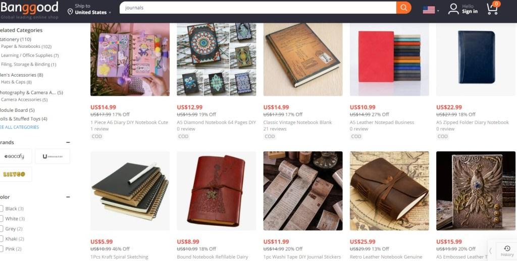 Notebook dropshipping products on Banggood