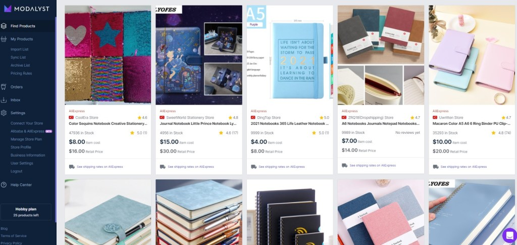Notebook dropshipping products on Modalyst
