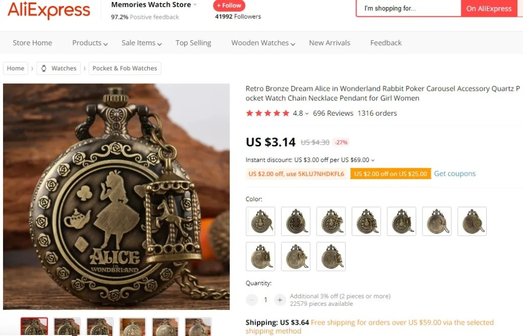 Pocket watch dropshipping product example