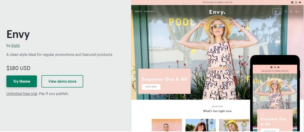 Shopify Envy theme for watches products promotion
