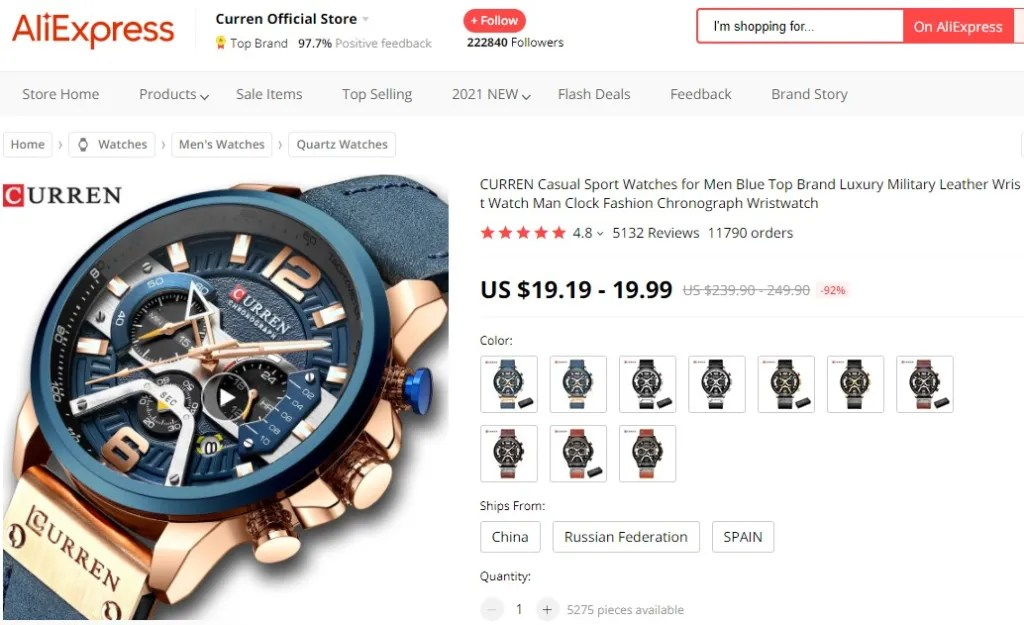Sport watch dropshipping product example