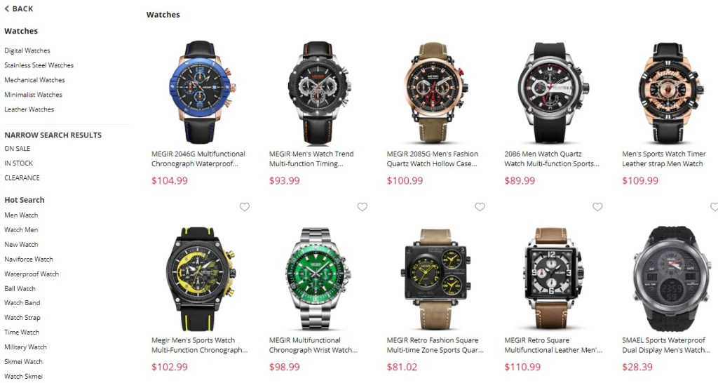 Watches dropshipping products on GearBest