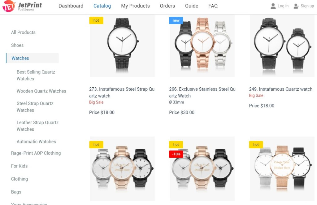 Watches dropshipping products on JetPrintApp