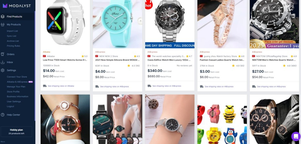 Watches dropshipping products on Modalyst