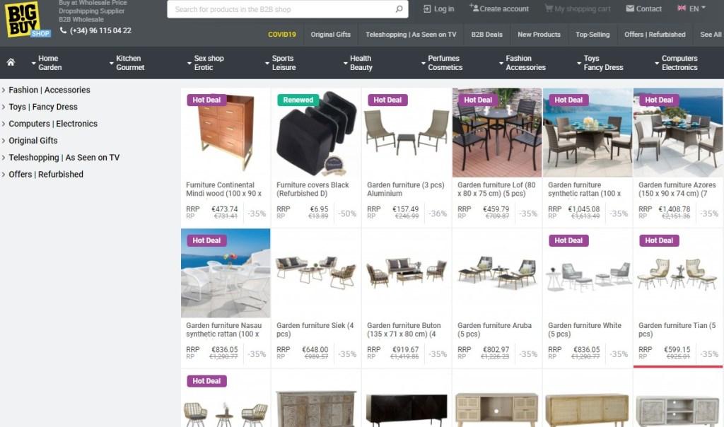 BigBuy furniture dropshipping supplier