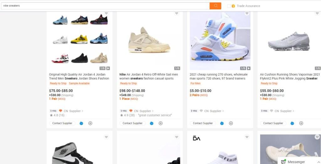 Nike & Adidas dropshipping shoes on Alibaba