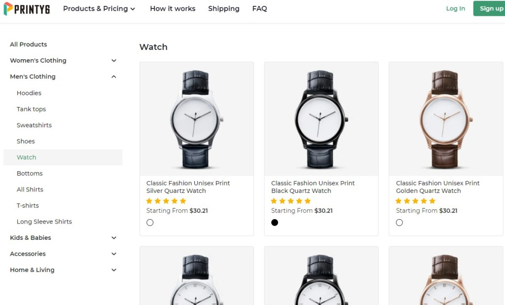 Printy6 jewelry & watches print-on-demand dropshipping supplier