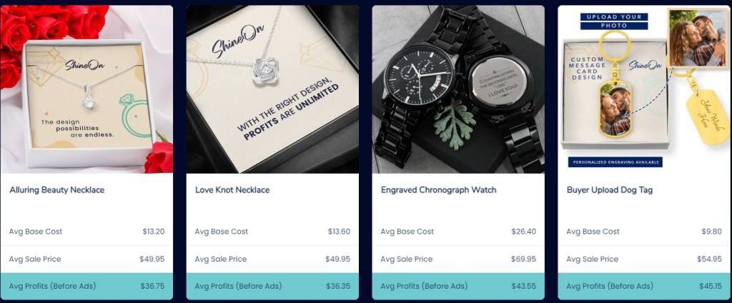 Shineon jewelry & watches print-on-demand dropshipping supplier