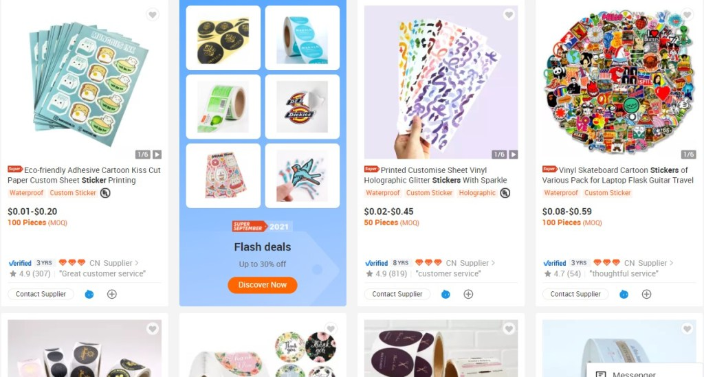 Stickers dropshipping products on Alibaba