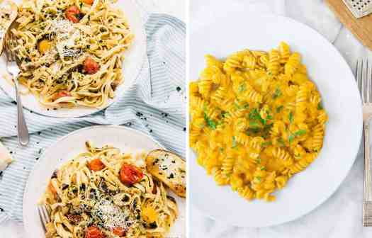 Two white plates with tomato and mushroom pasta by Jessica in the Kitchen and vegan pumpkin fusilli on a light blue plate by The Clever Meal
