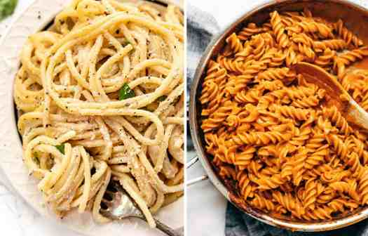 Spaghetti with cacio e pepe in a white bowl by Simply Quinoaand Fusilli and red vodka sauce in a skillet by Pinch of Yum