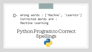 Correct Spellings with Python