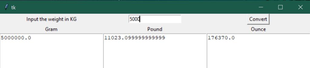 weight converter GUI