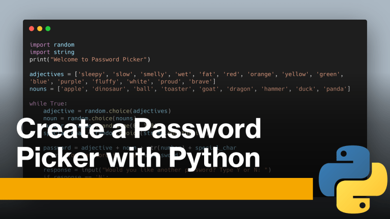 Password Picker with Python