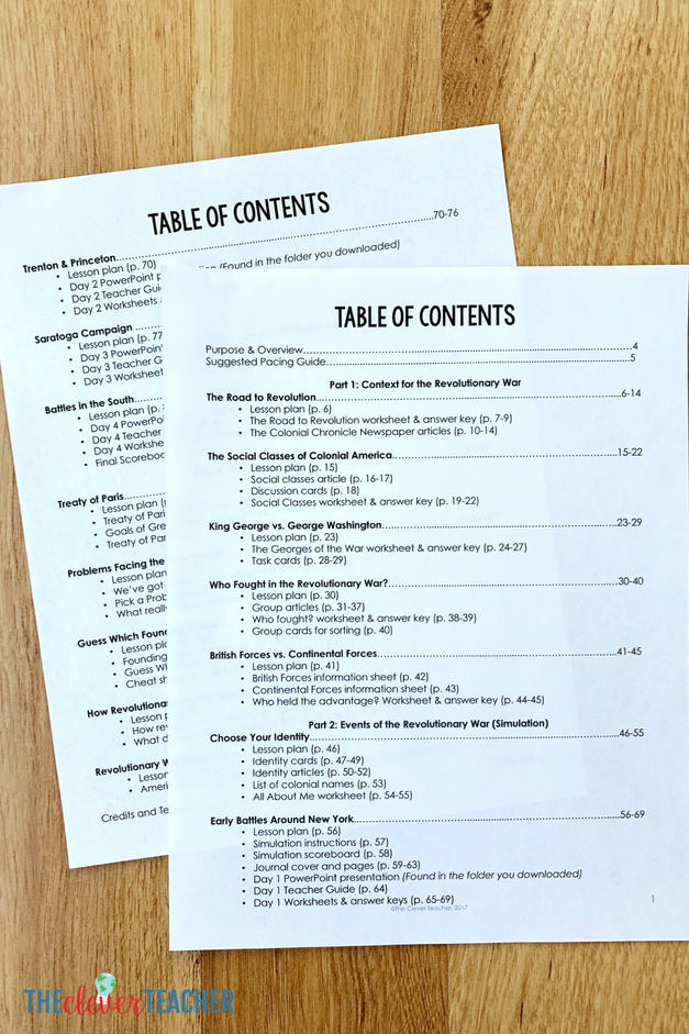 Revolutionary War Unit Table of Contents