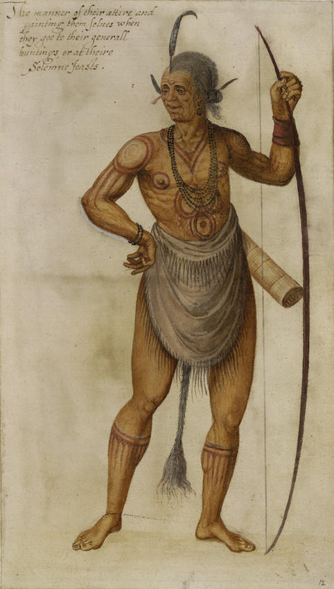 Watercolor painting of a Native American chiefby colonist John White (1585)