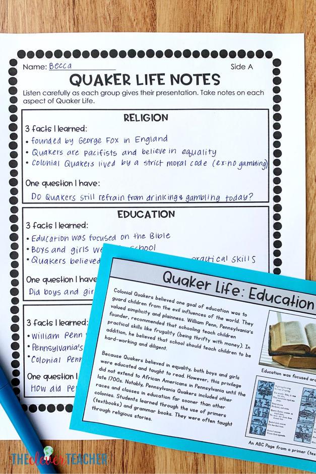 Quaker Task Cards