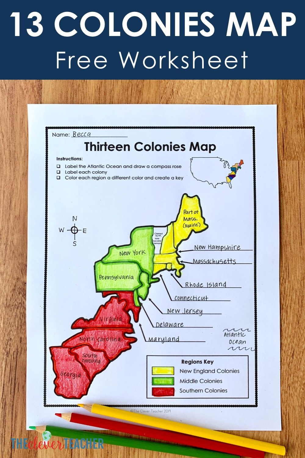 13 Colonies Free Map Worksheet and Lesson