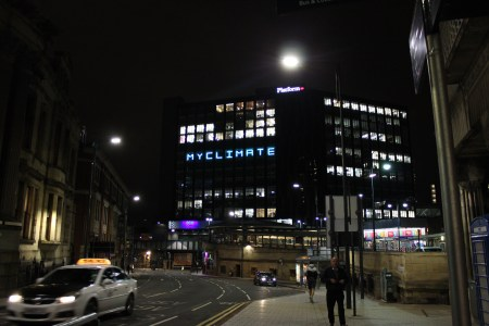Large word display in Leeds City Centre