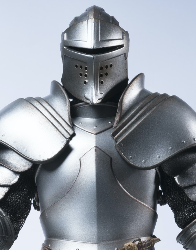 Closeup image of a Knight of the Climate Covenant in armor.
