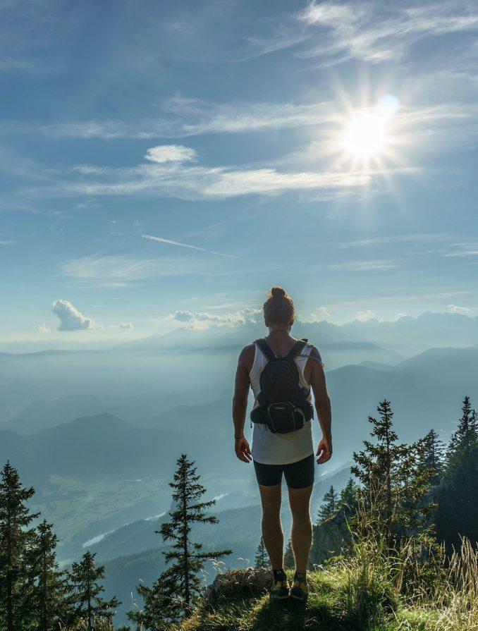 Woman gazing over mountain range