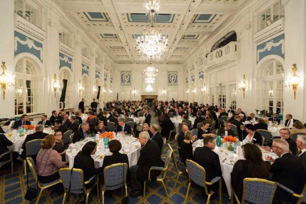 Members discussing trade at the annual dinner in November 2017