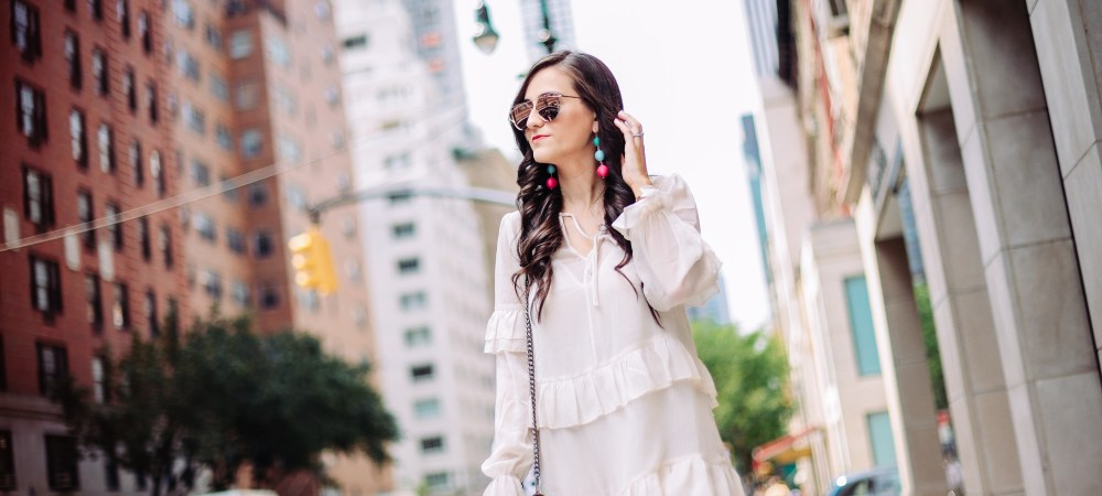 White Ruffle Dress & a Pop of Color