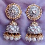 Zara Kundan Jhumka Earrings_front