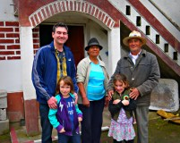 A nice couple who invited us to meet their baby cow and to have coffee and snacks.