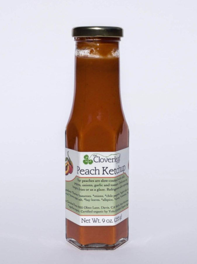 spicy sweet organic peach ketchup. 9 oz