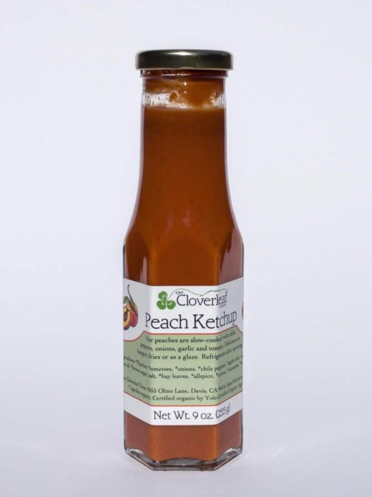 spicy sweet organic peach ketchup. 9 oz
