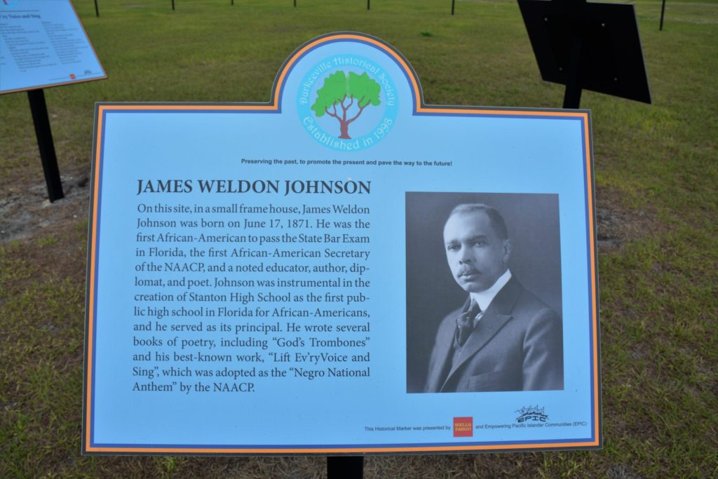 James Weldon Johnson placard in Lift Ev'ry Voice and Sing Park, Jacksonville, FL