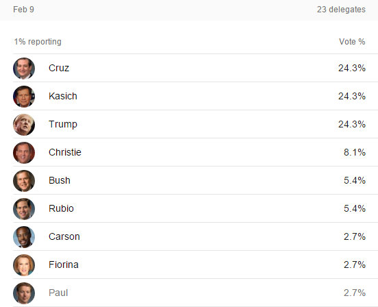 Rolling New Hampshire Results As They Come In