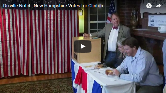 Dixville Notch, New Hampshire Votes for Clinton 4, Trump 2