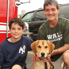 Bill & Sean Fitzgerald w/Ginger, Wall - She's part of the family. It's our first dog. We've had her 6 weeks now. She's golden retriever mix. She's a rescue from Wall. She's very happy dog. A little too trusting. Very good temperament.