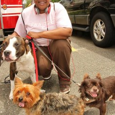 Cory Chandler Watts w/Tom-Tom, Sasha & Jack Sparrow, Asbury Park - They don't talk back. They're great companions. They listen better than the kids. - All 3 were from people who couldn't take care of them anymore. I love animals.
