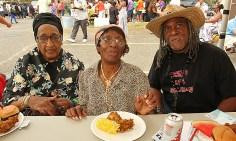 Enjoying a meal were Alice Alston, Inez Stanard and Robert Beatty.