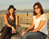 Enjoying the ocean breeze on the boardwalk in Asbury Park were Julie Collazo and Maria Castillo, both of Paterson.