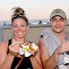 On the Asbury Park boardwalk were Claire Morgan of New York City and Tony Orofino, Asbury Park.