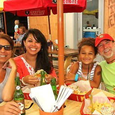 At Lightly Salted on the city boardwalk were Roseann Andrich of Bradley Beach, Dennise Tapia of Montclair, Stelle Tapia of Montclair and Guy Losa of Bradley Beach.