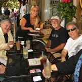 Enjoying a meal at Yvonne's in Ocean Grove were Dylan Morgan, New York; Lee Morgay, Ocean Grove; Todd William, Kirtland, Ohio; Jake Jacobs, Ocean Grove and Barbara Morgan, Ocean Grove. The waitress is Shauna Volpe.