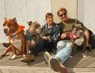 On the Asbury Park boardwalk were Bloomfield residents Debbie and Jack Cluen with Duke, Apache and Zen.