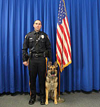 Allenhurst Police Officer Anthony Carafa is pictured with his K9 partner Bia.