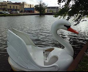One of the Asbury Park Pedal Boats on Wesley Lake. File photo.