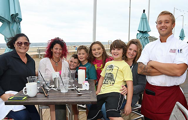 At McLoone's on the Asbury Park boardwalk Ian Drake waited on Mary Beth Shotter, Ocean Township; Claire Davids, Asbury Park and Gina Salvatore with Johnny, Luke, Elizabeth and Devlin.